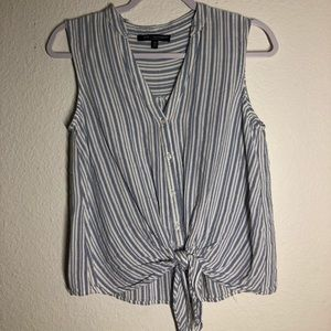 Tie-Front Button Up Striped Tank